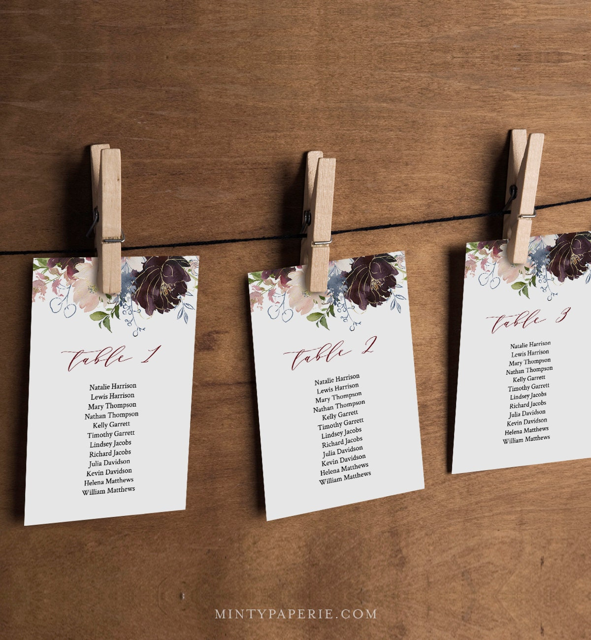 Seating Chart Cards, Table Seating Template, Boho Floral