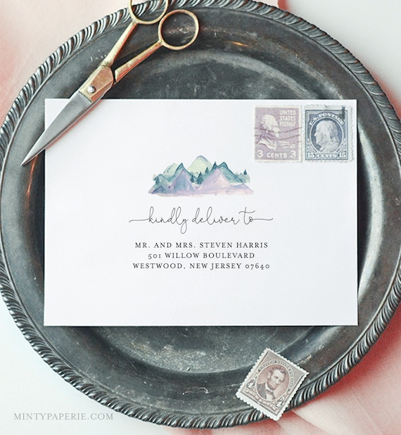 Rustic Mountain Envelope Template, DIY Pine Wedding Address Printable, Instant Download, Editable Text, Templett, A1, A7 Sizes #063-117EN