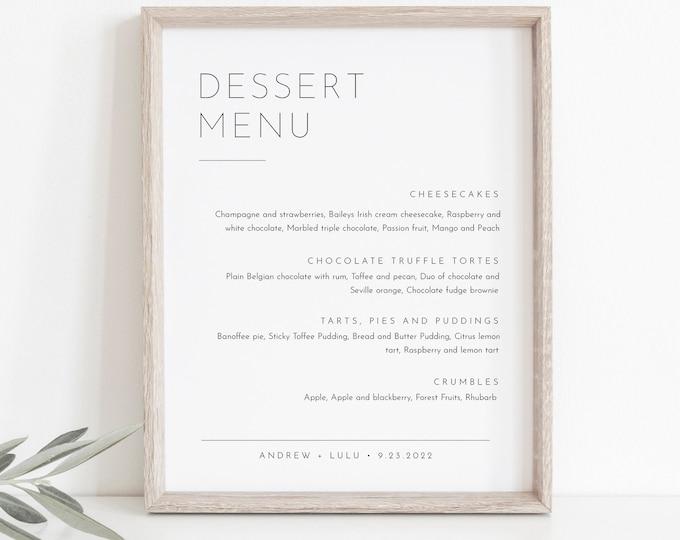 Minimalist Dessert Menu Sign, Sweets Menu, Printable Wedding Dessert Bar Station, Editable Template, Instant Download, Templett #094-102DM
