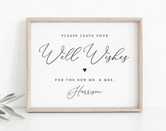 Well Wishes Sign Template, Guest Book Printable, INSTANT DOWNLOAD, 100% Editable, Custom Leave Your Wishes Wedding Sign, Templett #CHM-07