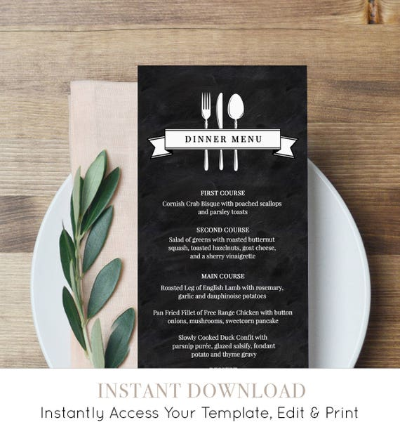 Printable Menu Card Template, Wedding Dinner Menu, Instant Download, Fully Editable Menu Card, Chalkboard Wedding, Digital, DIY #NC-104WM