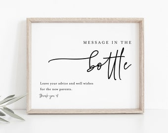 Message in a Bottle Sign, Minimalist Baby Shower, Advice and Well Wishes, 100% Editable Template, Instant Download, Templett  #0009-18S