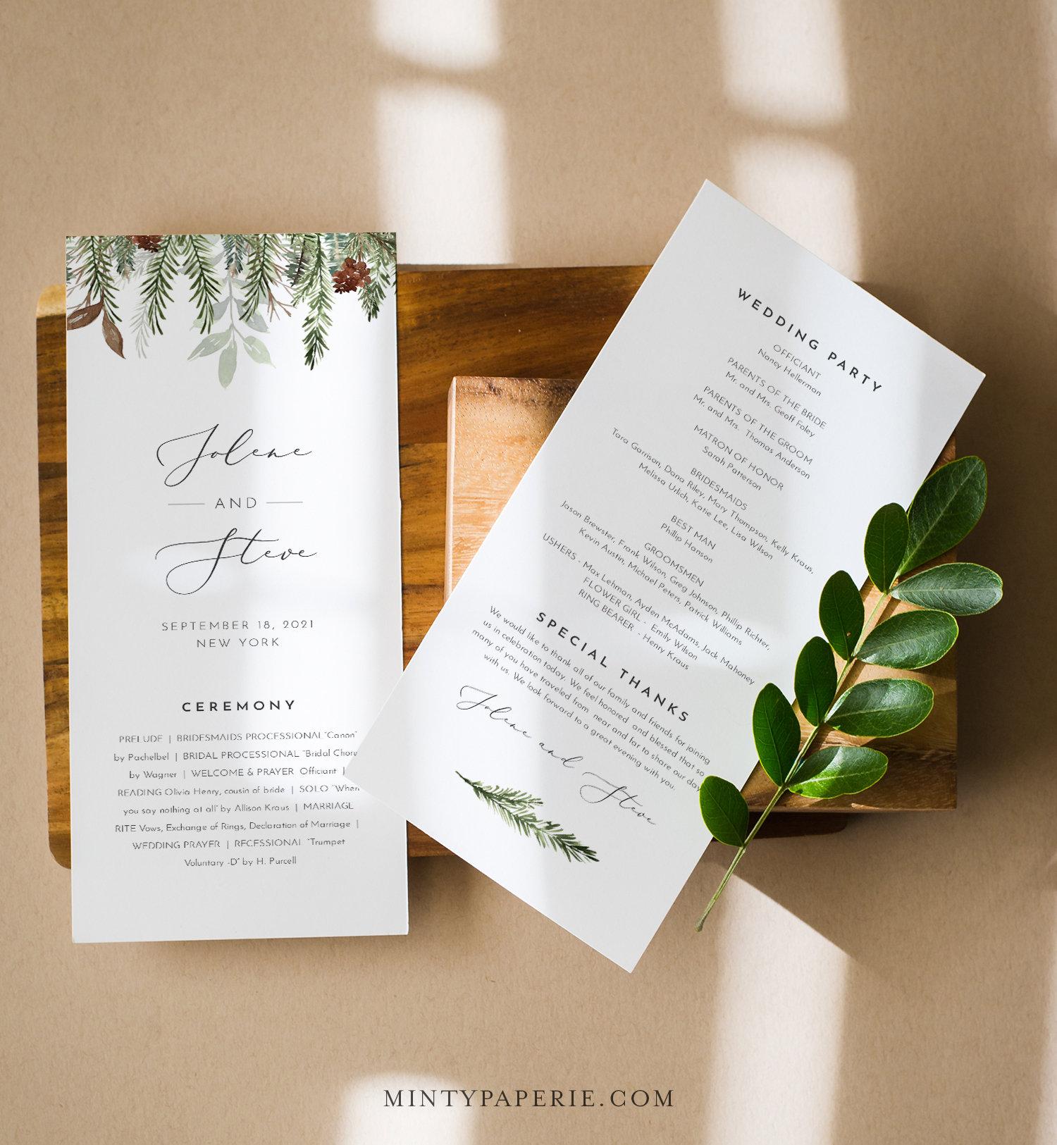 Custom Wedding program printable Modern classic Chalkboard wedding program DIGITAL file!