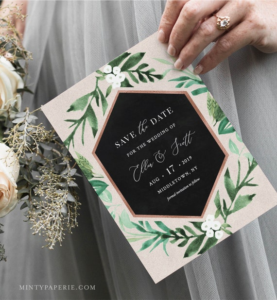 Save the Date Card, Printable Greenery & Rose Gold Save the Date, Boho Wedding, Editable Template, 4x6 and 5x7, Instant Download #080-146SD