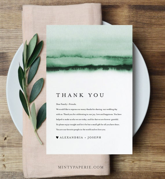 Thank You Letter, Emerald Watercolor, Napkin Note, Printable Menu Thank You, Editable Template, Instant Download, Templett 4x6 #093C-141TYN