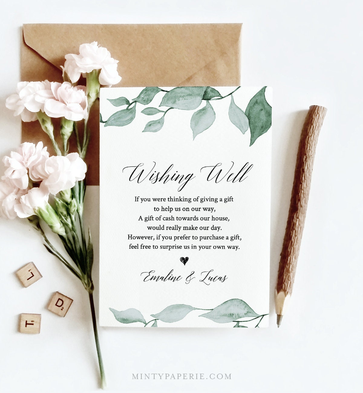 Wishing Well Template, INSTANT DOWNLOAD, Bridal Shower