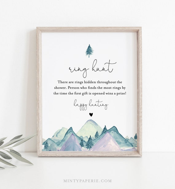Ring Hunt Bridal Shower Game, Ring Game Template, Winter Mountain Bridal Shower Printable, Editable, Instant Download, Templett #063-271BG
