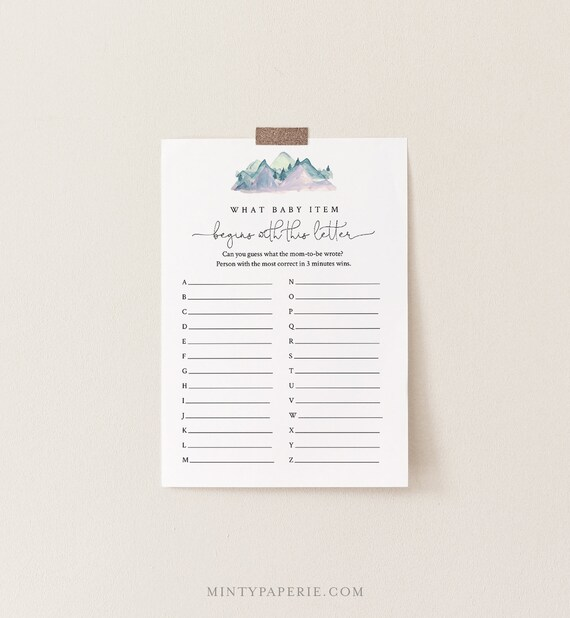 A to Z Baby Shower Game, What Baby Item Game, Rustic Pine Mountain Baby Shower, Editable Template, Instant Download, Templett #063-131BASG