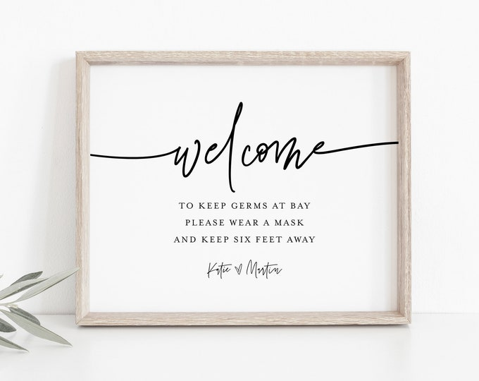 Printable Covid Wedding Welcome Sign, Social Distance Sign Template, Editable Text, Minimalist, Instant Download, Templett #0009-13S