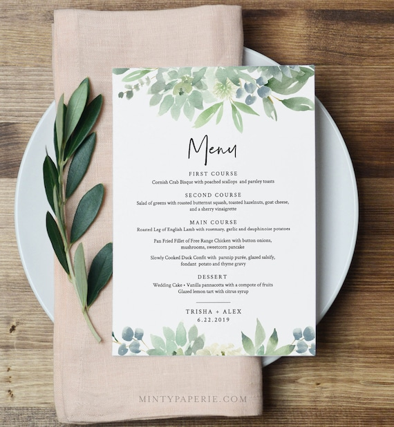 Boho Menu Template, Succulent Greenery Wedding Menu Card, Printable DIY Dinner Menu, INSTANT DOWNLOAD, Editable, 5x7 & 3.65x9 #075-142WM