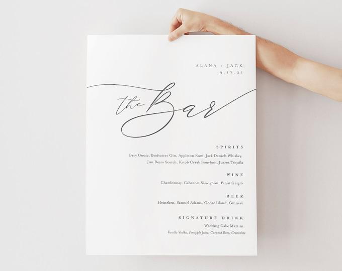 Minimalist Bar Menu Sign, Printable Wedding Bar Menu, Alcohol Drinks Menu, 100% Editable Template, Instant Download, Templett #0006-107BM