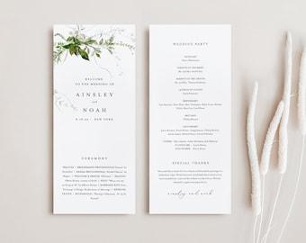Modern Greenery Wedding Program Template, Minimal Order of Service, Editable, Printable Program, Instant Download, Templett #0011-263WP