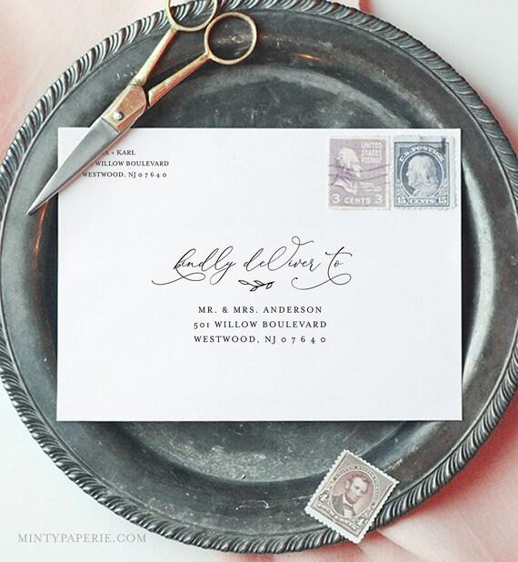 Modern Calligraphy Envelope Template, Minimalist Wedding Address Printable, Instant Download, Editable, Templett, A1, A7 Sizes #092-129EN