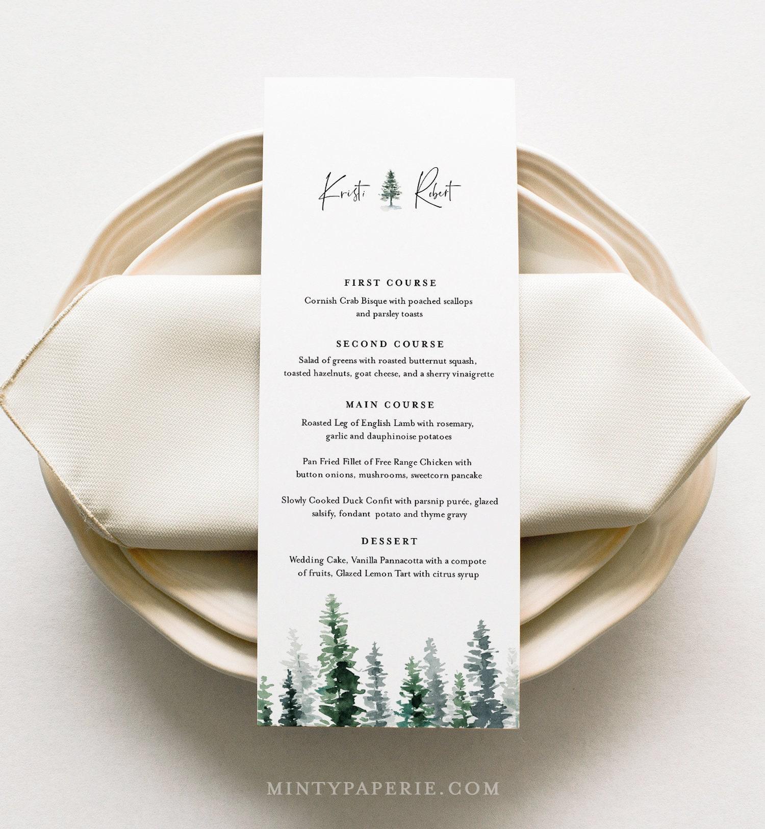 pine menu card template rustic winter wedding menu
