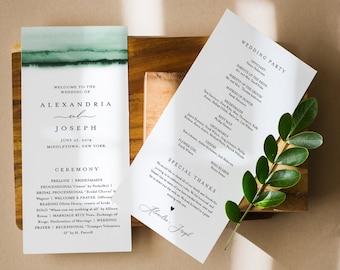 Emerald Watercolor Wedding Program Template, Printable Order of Service, Modern, Instant Download, Editable Text, DIY, Templett #093C-238WP