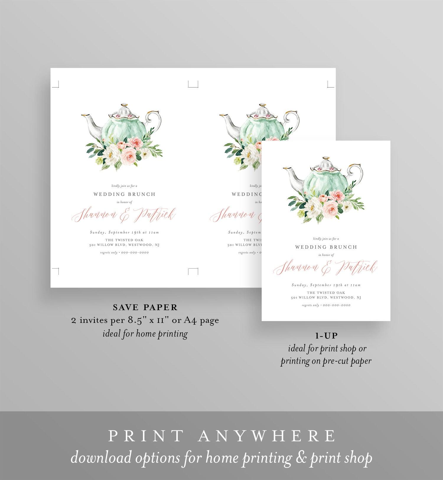 Instant Download Digital Editable Text Printable Post Wedding Tea Party Invite Wedding Brunch Invitation Template TEMPLETT #085-106BR