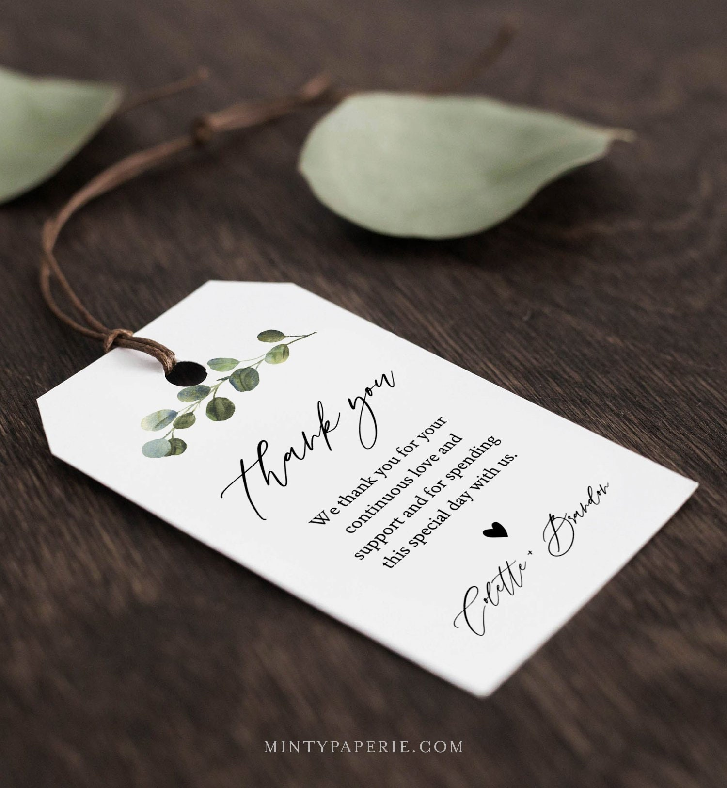Wedding Favor Tag Template, Thank You Tag, Greenery Bridal
