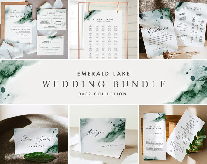 Emerald Lake Wedding Bundle, Day Of Wedding Templates, Mystic Watercolor Invitation Set, Editable, Instant Download, Templett  #0002-BUNDLE