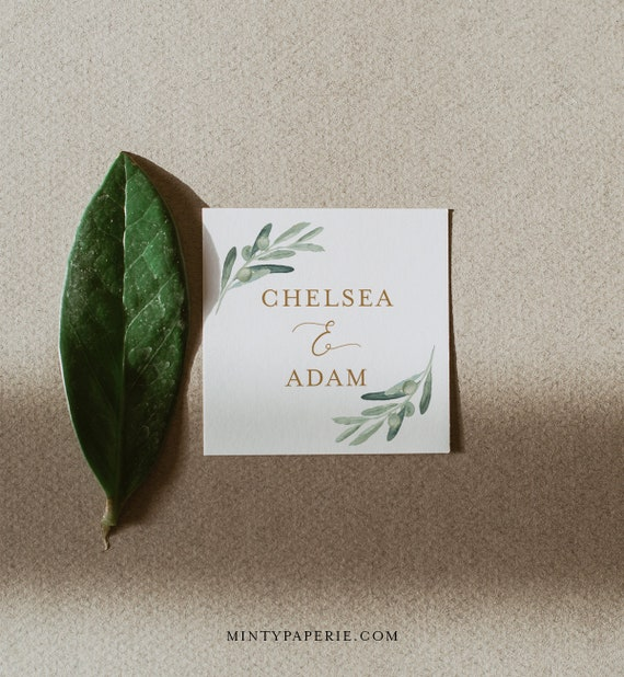 Greenery & Gold Favor Tag Template, Wedding or Bridal Shower Thank You Tag or Label, Editable, Square or Circle Tag, Templett #081-118SF
