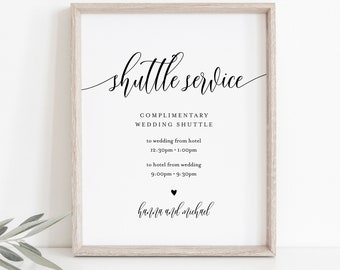 Shuttle Service Wedding Sign, Minimalist Transportation Sign, Trolly, Editable Template, Printable, Instant Download, Templett 8x10 #008-29S