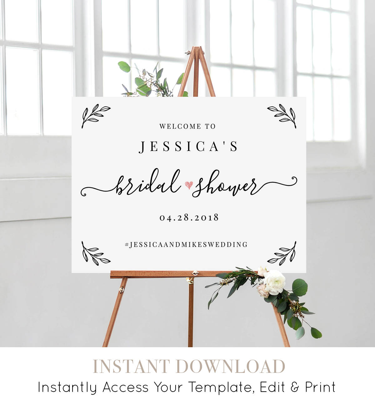 bridal shower welcome sign template editable wedding shower poster