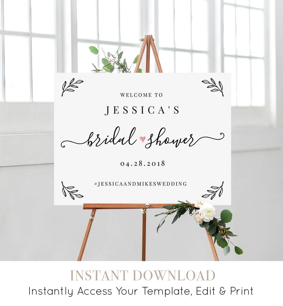 Bridal Shower Welcome Sign Template, Editable Wedding Shower Poster ...