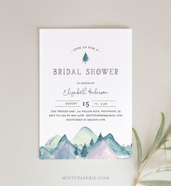 Bridal Shower Invitation Template, Rustic Mountain Wedding Shower Invite, Pine, 100% Editable Text, Printable, INSTANT DOWNLOAD #063-212BS