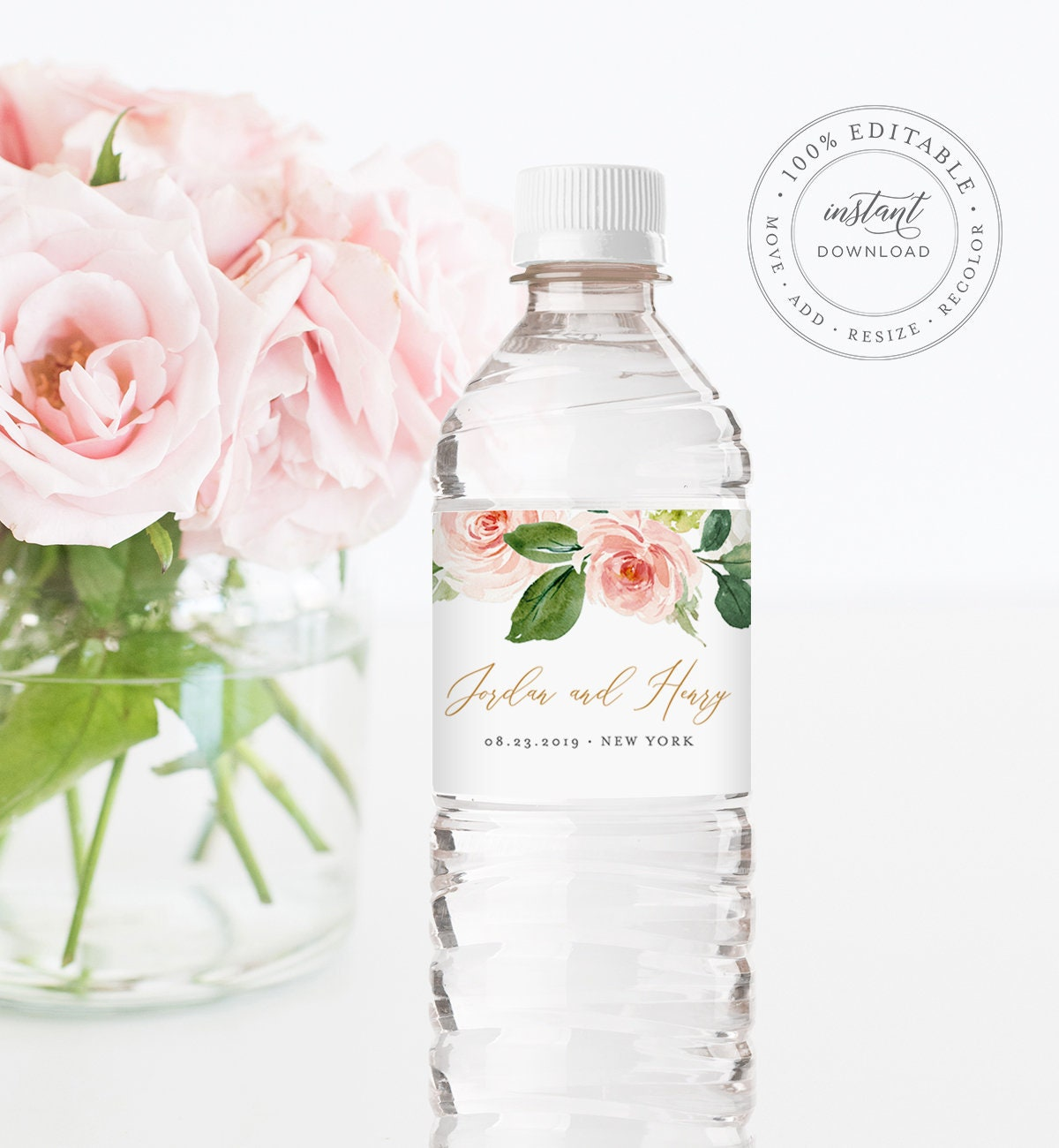 Water Bottle Label Template Instant Download Printable