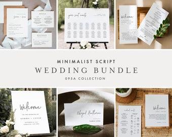 Minimalist Wedding Bundle, Day Of Wedding Templates, Simple Script Invitation Suite, 100% Editable, Instant Download, Templett  #095A-BUNDLE