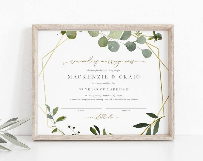 Renewal of Marriage Vows Certificate, Greenery Vow Renewal Certificate, Wedding Keepsake, Editable Text, Instant Download, 8x10 #056-101RVC