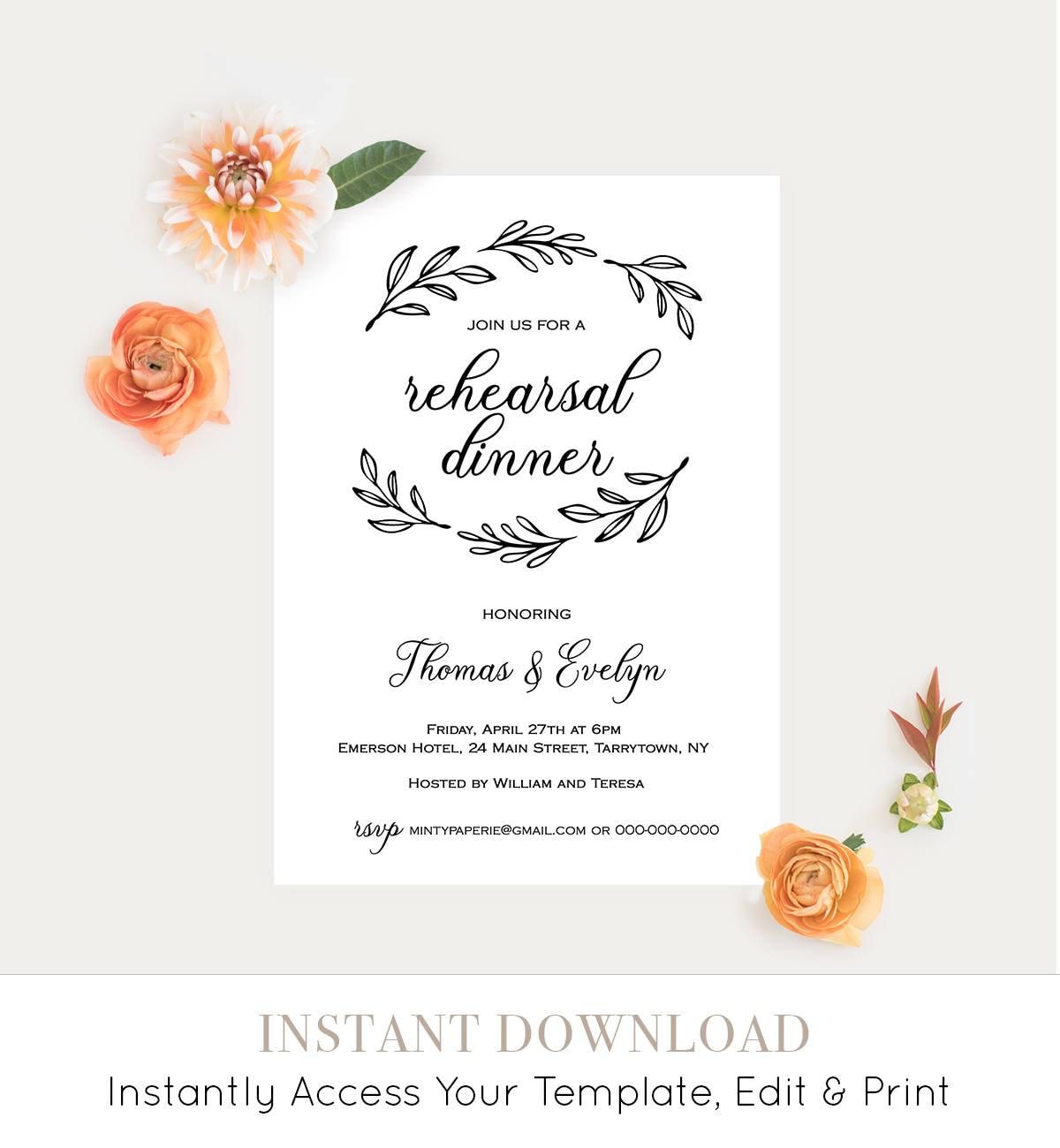 Rehearsal Dinner Invitation Printable, Rustic Wedding Rehearsal ...