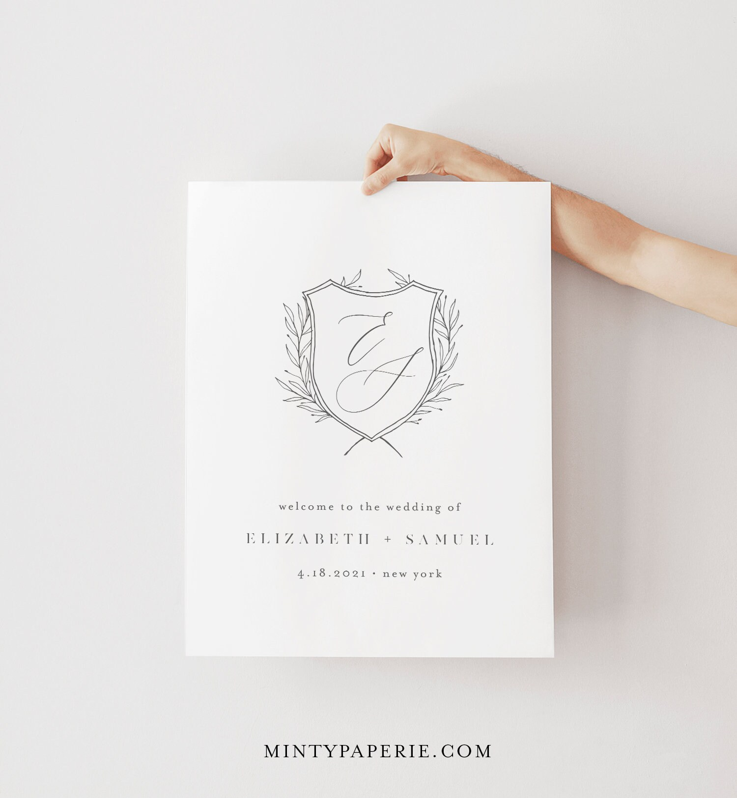 Editable Template BB06 Crest Wedding Welcome Sign Templett Instant Download Portrait Welcome Poster Modern Minimal Wedding Sign