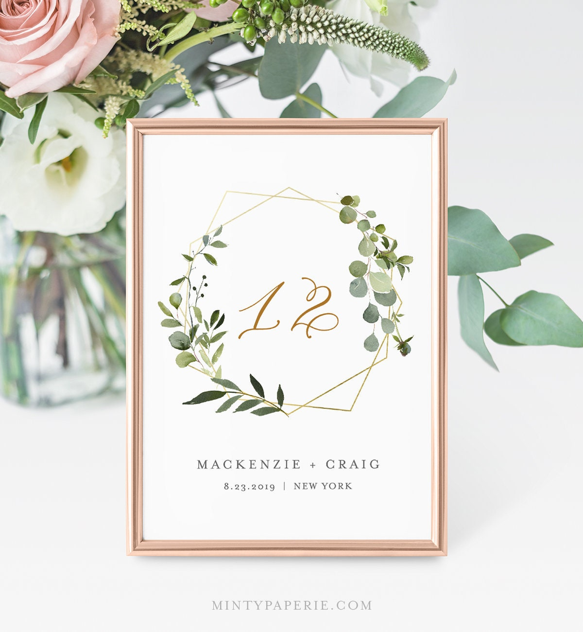 Greenery Table Number Card, Wedding Table Number, INSTANT DOWNLOAD ...