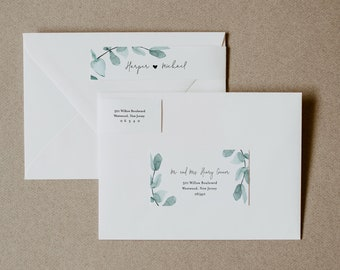 Eucalyptus Address Label, Greenery Wedding Envelope Sticker, Return Address Template, INSTANT DOWNLOAD, Editable Text, Templett #049-103ENL