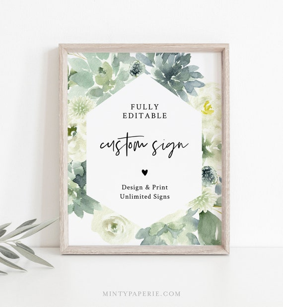 Custom Sign Template, Bridal Shower Sign, Succulent Greenery Wedding, Create Any Sign Unlimited Times, INSTANT DOWNLOAD, Templett #075-130CS
