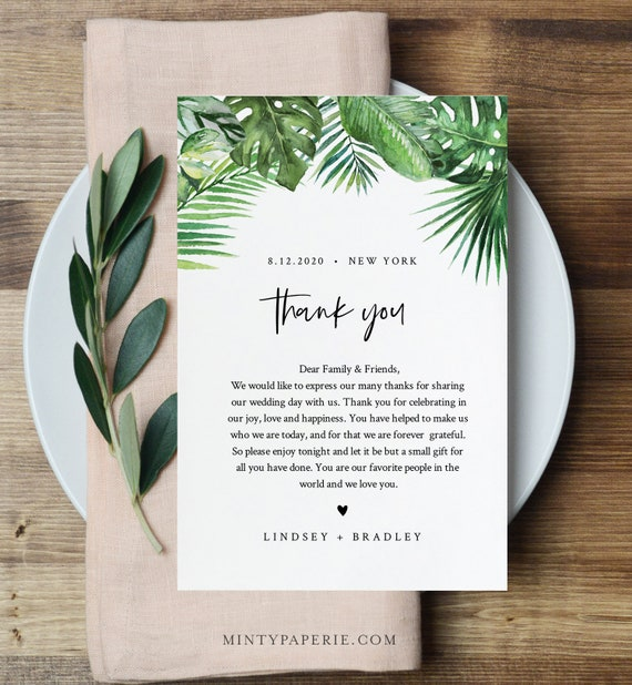 Monstera Thank You Letter, Napkin Note, Printable Tropical Wedding Menu Thank You, Editable Template, INSTANT DOWNLOAD, Templett #083-132TYN