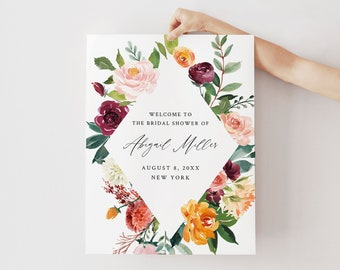 Welcome Sign Template, Bridal Shower, Wedding or Baby Shower Poster, Floral Summer Garden, Instant Download, Editable, Templett #002-171LS