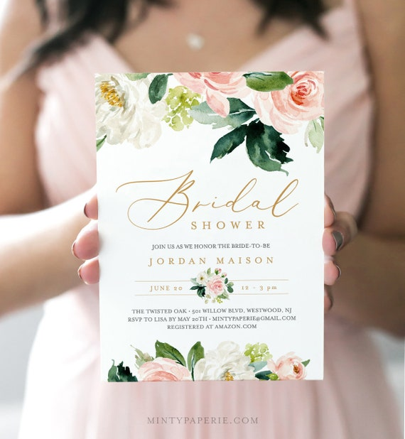Bridal Shower Invitation, INSTANT DOWNLOAD, Printable Wedding Shower Invite, Self-Editing Template, Boho Floral Greenery, DIY #043-140BS