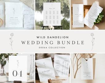 Wedding Bundle, Dandelion Invitation Suite + Wedding Essentials, Billy Button, Wildflower, 100% Editable Templates, Templett #0006A-BUNDLE