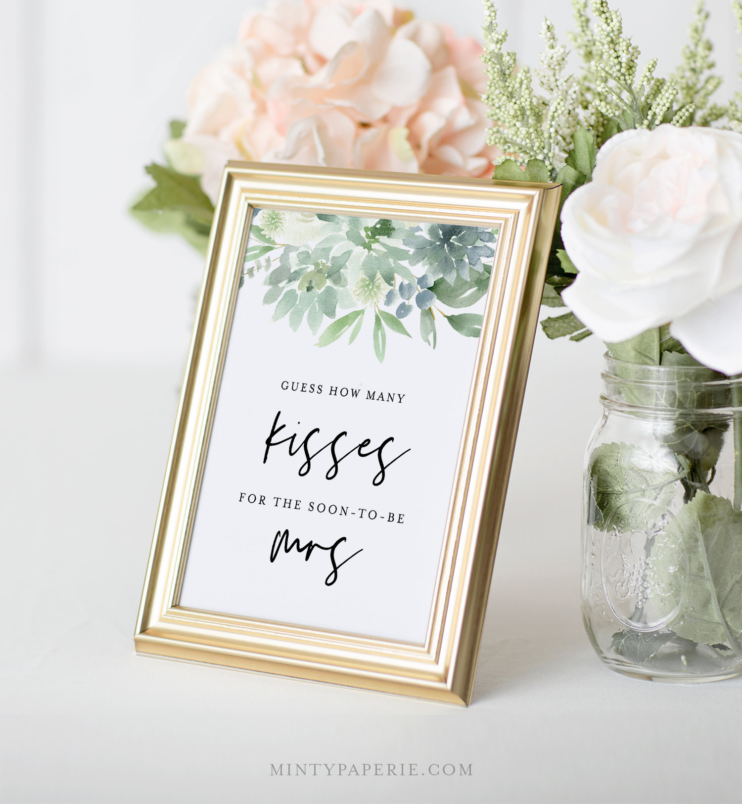 Guess How Many Kisses Bridal Shower Game Succulent Wedding Shower Game Guess Candy Game Instant Download Editable Template 075 172bg