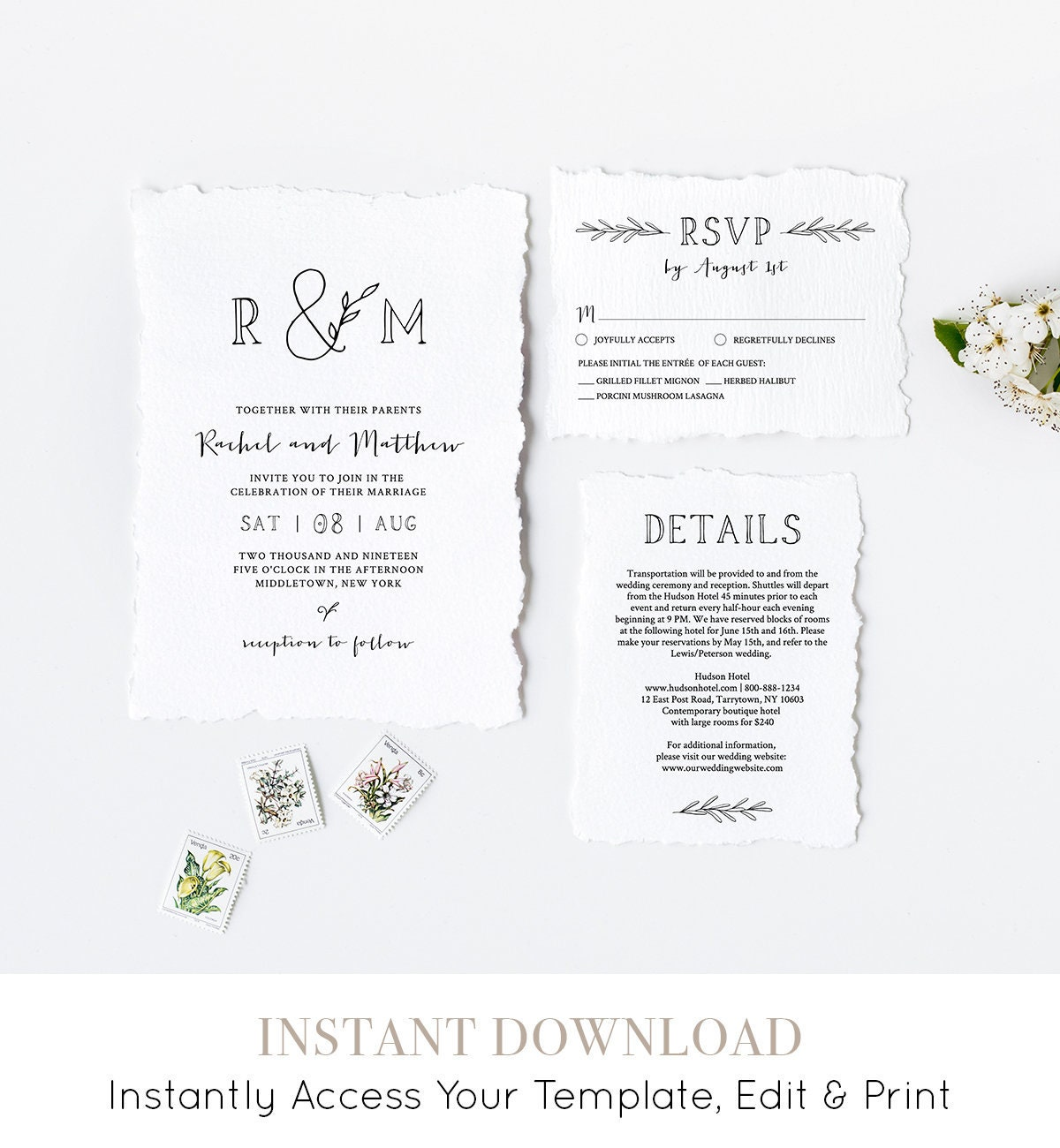 wedding invitation printable instant download 100 editable