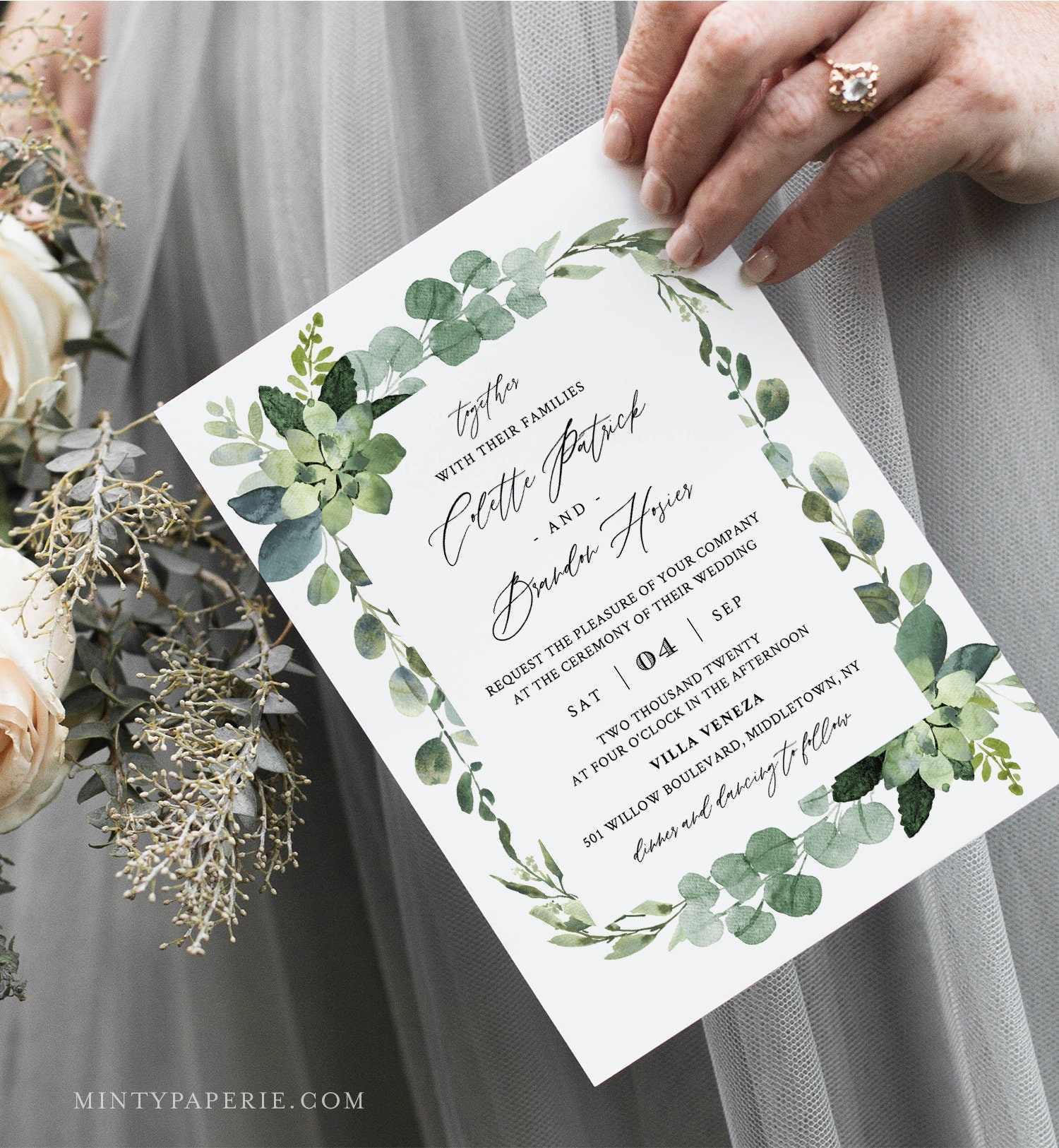 greenery wedding invitation template selfediting invite
