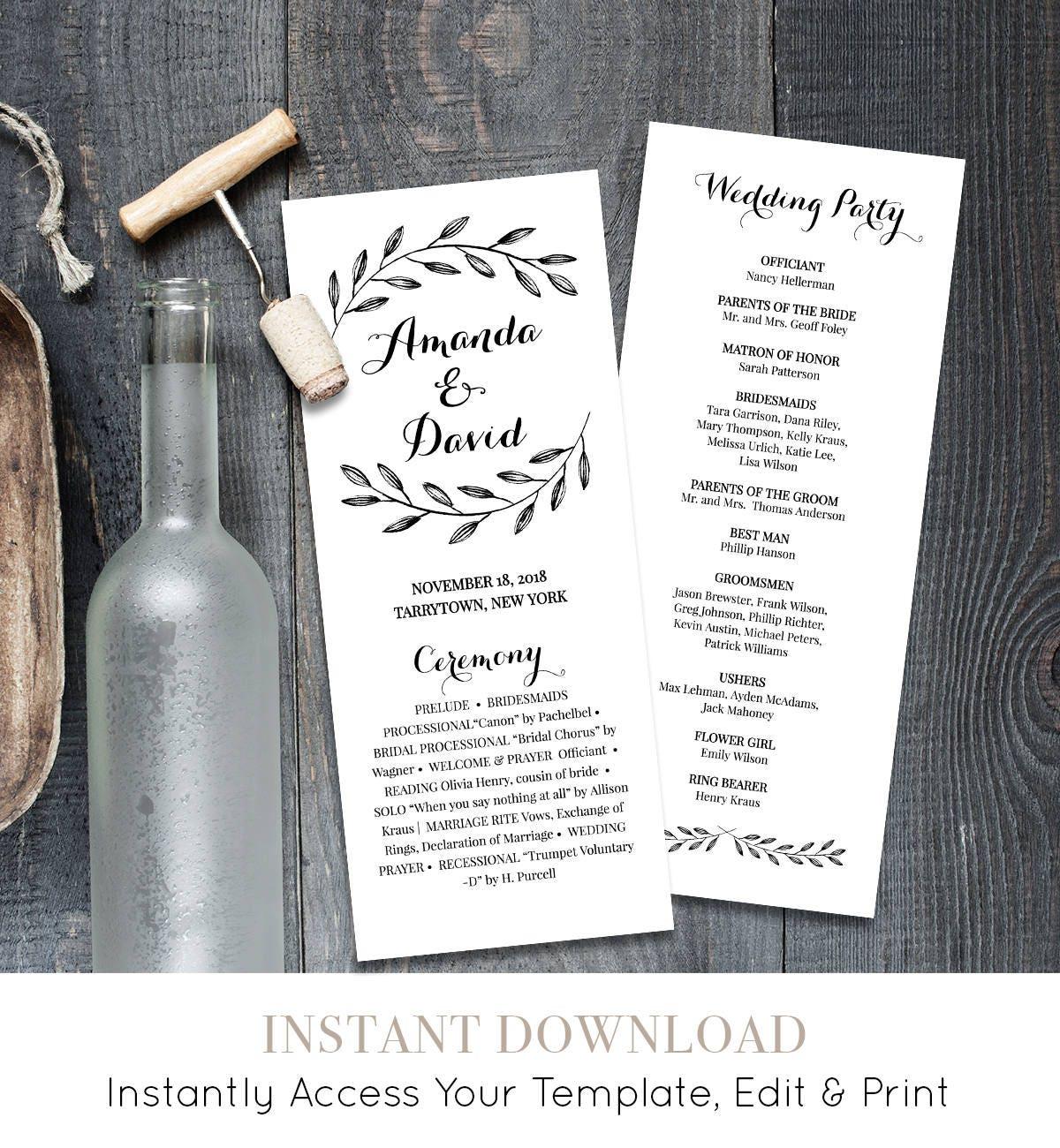 rustic wedding program template instant download order of service