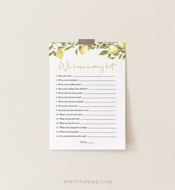 Who Knows Mommy Best, Printable Baby Shower Game, Summer Citrus Lemon Greenery, Editable Template, Instant Download Templett #089-150BASG