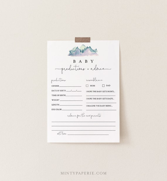 Baby Predictions and Advice Card, Printable Mountain Baby Shower Game, 100% Editable Text, DIY Baby Advice, INSTANT DOWNLOAD #063-137BASG