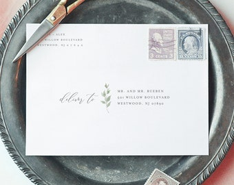 Minimalist Greenery Address Template, Wedding Envelope Printable, Instant Download, 100% Editable Template, Digital, A1, A6, A7 #0004B-139EN