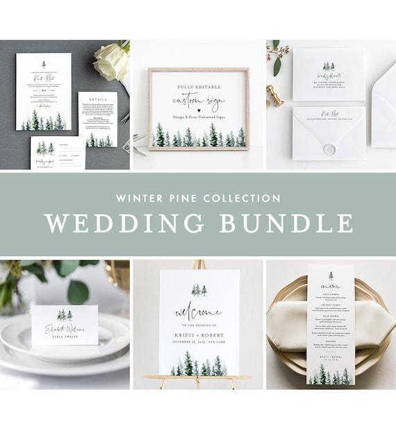 Pine Wedding Bundle, Rustic Winter Wedding Invitation Suite, Editable Templates, Instant Download, Templett #073-BUNDLE