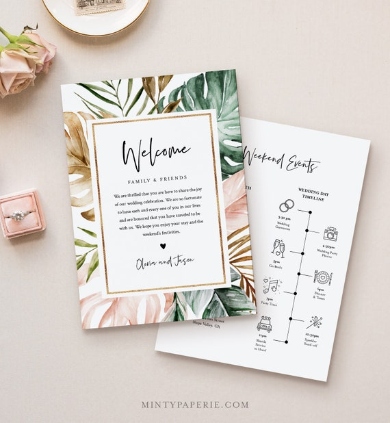 Tropical Welcome Letter & Itinerary Template, Beach Wedding Order of Events, Welcome Bag Timeline, INSTANT DOWNLOAD, Templett #087-135WB