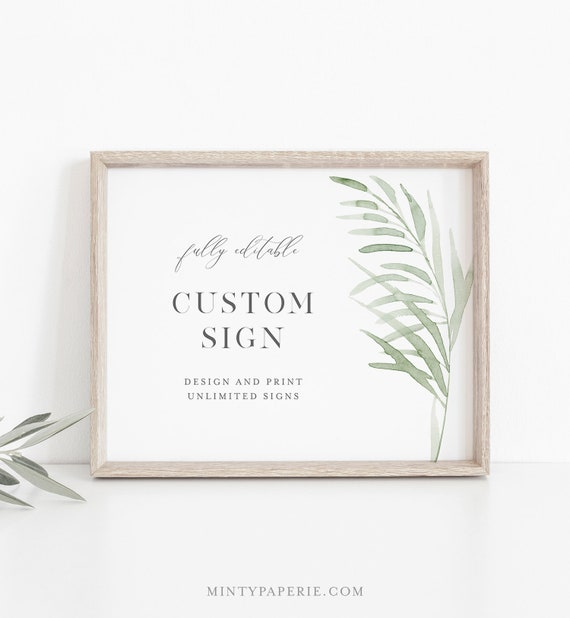 Beach Grass Custom Wedding Sign Template, Bridal Shower Sign, Create Any Sign Unlimited Times, INSTANT DOWNLOAD, Templett #0004D-159CS