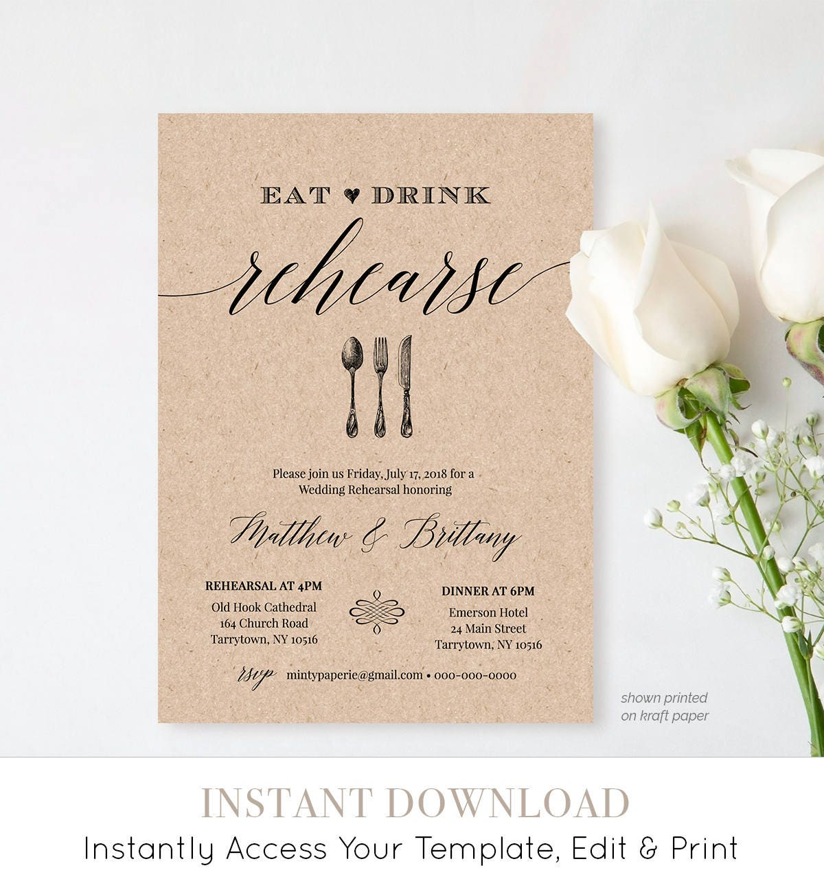 Rehearsal Dinner Invitation Template, Printable Rustic Wedding ...
